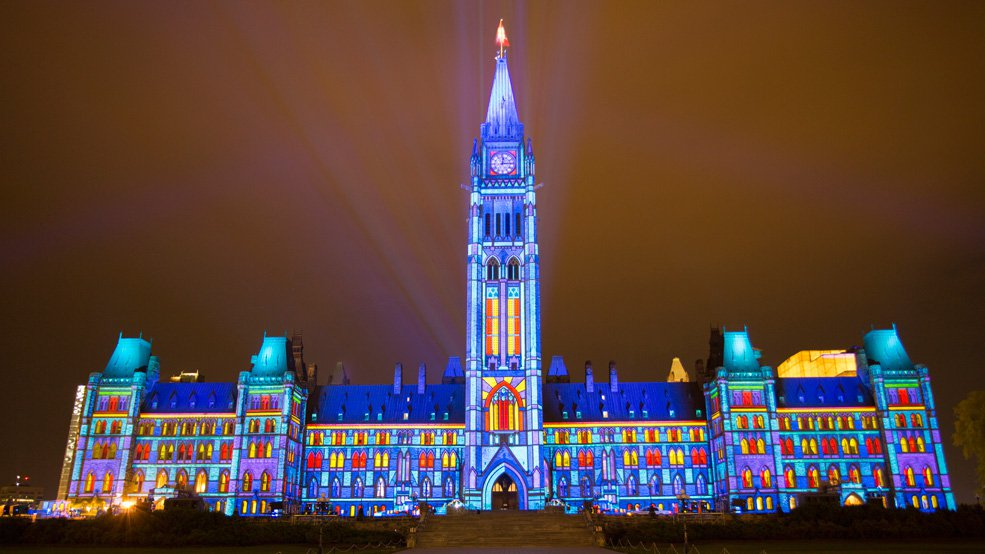 Northern Lights at Parliament- photo cred: ottawatourism.ca